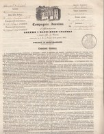 """Doc6 - Polizza """"COMPAGNIA ANONIMA DI ASSICURAZIONE """"  Del 25 Settembre 1856 . Leggi .... - Banque & Assurance"""