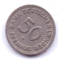Bank Deutscher Länder 1949 D: 50 Pfennig, KM 104 - [ 7] 1949-… : RFA - Rep. Fed. Alemana