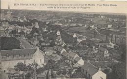 Carte Postale Ancienne De Vitré Vue Panoramique Vallée De La Vilaine Et Route De Fougere - Vitre
