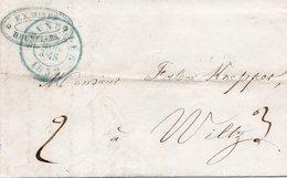 LAC Du 29 Mars 1852 - Bruxelles Vers WILTZ (Grd Duché De Luxembourg) - Obli.Verte De Bruxelles - Port De 3 + 2 Décimes. - Andere