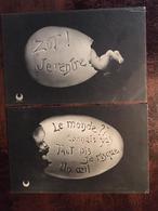 2 Cpa, Bébè Dans Un Oeuf:1/ Le Monde ?? Connais Pas Tant Pis Je Risque Un Oeil - 2/ Zut ! Je Rentre, éd Croissant,1905 - Bebes