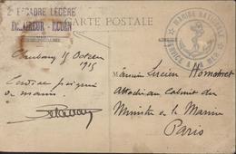 Cachet 2e Escadre Légère Eclaireur Rouen + Marine Nationale Service à La Mer Guerre 14 CPA Cherbourg Rue Des Tribunaux - Guerre De 1914-18