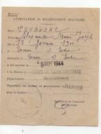 D7  09 09 1944  Attestation De Recensement Militaire  Recrutement De Nantes - Marcophilie (Lettres)
