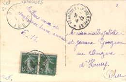 Cachet Convoyeur-ligne Veaugues à La Guerche 3° Sur CP Fantaisie Calendrier 1920 - Marcofilia (sobres)