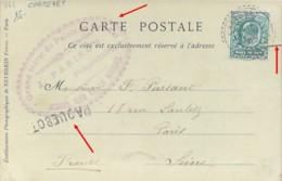 Cachet Facteur-Boitier Carteret Sur Timbre Anglais + Marque Linéaire Paquebot Sur Carte Postale Jersey 1904 - Postmark Collection (Covers)