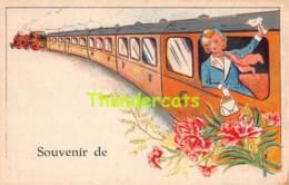 CPA SOUVENIR DE TRAIN CHEMIN DE FER BAISER DE AMIETIES DE BONJOUR DE ... ( CARTE VIERGE ) P.J. BRUXELLES - Souvenir De...