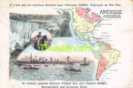 CPA PUB PUBLICITE AMIDON REMY CARTE KAART MAP AMERIQUE AMERIKA AMERICA ( PLI - CREASE ) - Publicité