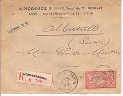 Recommandé 1918 Merson YT 119 HUISSIER LYON ALBERVILLE - Marcophilie (Lettres)