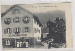 Gruss Aus Jenaz - Wirtschaft Zur Sonne - Animiert - 1909   (P-234-00110) - GR Grisons