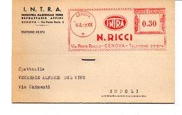 1942 EMA Affrancatura Meccanica Rossa Freistempel Genova N. Ricci INTRA Industria Nazionale Terre Refrattarie Affini - Affrancature Meccaniche Rosse (EMA)