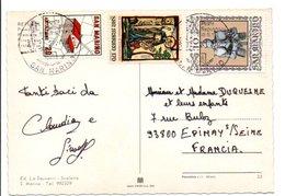 SAINT MARIN AFFRANCHISSEMENT COMPOSE SUR CARTE POUR LA FRANCE 1982 - Lettres & Documents