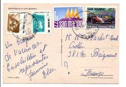SAINT MARIN AFFRANCHISSEMENT COMPOSE SUR CARTE POUR LA FRANCE 1987 - Lettres & Documents