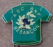BOWLING - MAILLOT VERT - ASC BNP - BESANCON - BOULE - QUILLES - FRANCE - DOUBS - 25 -                       (24) - Bowling