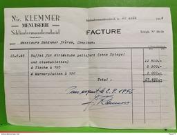Facture, Nic. Klemmer. Schlindermanderscheid. 1946 - Luxembourg