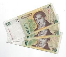 Argentina (BCRA) 10 Pesos ND (2013) Series N CIRC. 3 Pcs Cat No. P-354a / AR407e - Argentina