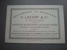 CHARLEROI - V. LECERF - FABRICATION DE BRIQUETTES - DEPOT A GENDBRUGGE GAND - PUBLICITEIT - CARTE PUB - Charleroi