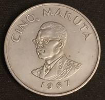 CONGO - 5 MAKUTA 1967 - KM 9 - Mobutu - Congo (Democratic Republic 1964-70)