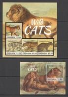 D534 2013 GRENADA FAUNA ANIMALS WILD CATS #6637-40 MICHEL 18,5 EURO KB+BL MNH - Roofkatten