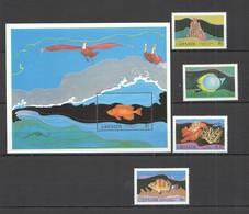 D538 1995 GRENADA FAUNA FISH & MARINE LIFE #1429-32 MICHEL 27 EURO 1SET+1BL MNH - Vie Marine