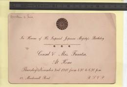 Carte D'invitation 1910 En L'honneur De L'anniversaire De L'empereur Du Japon - Vieux Papiers