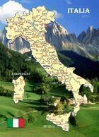 Italy Country Map New Postcard Italien Landkarte AK - Otros