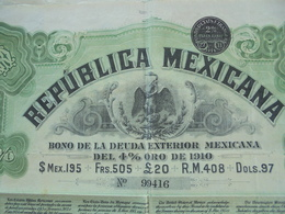 MEXIQUE - BONO DE LA DEUDA EXTERIOR MEXICANA - TITRE DE 505 FRS - 4% 1910 - Unclassified