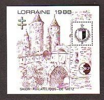 BLOC CNEP N° 9 - 09 -  SALON PHILATELIQUE DE METZ  LORRAINE 1988 CROIX DE LORRAINE E.LACAQUE - CNEP