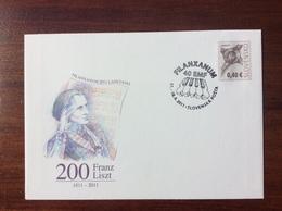 COB 112 Entier 2011 Slovaquie Franz Liszt Bicentenaire - Interi Postali