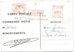 RHONE - Dépt N° 69 = SAINT GENIS LAVAL 1955 = EMA  Illustrée  = Etablissement Horticole Léon PIN - Marcophilie (Lettres)
