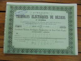 FRANCE - CIE DES TRAMWAYS ELECTRIQUES DE BEZIERS - ACTIONS PRIVILEGIEES 200 FRS - PARIS  - TITRE NON EMIS - Actions & Titres