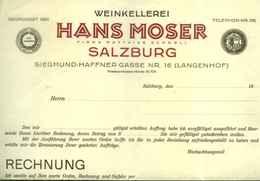 """Österreich Salzburg 1909 Rechnung Deko """" Hans Moser Weinkellerei Langenhof """" - Autriche"""