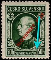 ✔️ Slovakia 1939 - Plateflaw / Doskové Chyby čiara Rozšírená - SZ. 23 DCH ** MNH - Ungebraucht