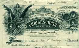 """Österreich Wien 1902 Rechnung Deko """" Christ.Schütz - Cigarettenpapierbüchel-Fabrik Cigarrentaschen """" - Autriche"""