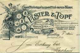 """LEMBERG Österreich = Lwow Lwiw Ukraine 1901 Rechnung Deko Jugendstil """" Elster&Topf Cigarettenpapierfabrik """" - Austria"""
