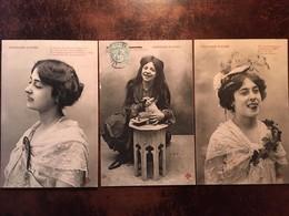3 Cpa, Fantaisie, Poissons D'Avril, éd Trèfle CCCC, Jeunes Filles Espiègles, écrites En 1905 - 1er Avril - Poisson D'avril