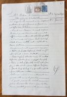 MARCHE DA BOLLO  SU CARTA BOLLATA  L.2 (1907) : PRETURA DI CAVOUR - ATTO GIUDIZIALE DI NOTORIETA' 14 GENNAIO 1909 - Documenti Storici