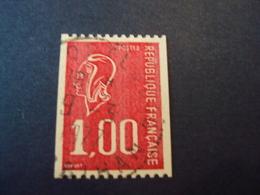 """1971-76 Oblitéré N°  1895  Roulette     """" Marianne De Bequet,1 F Rouge  """"   Net  0.50 """" Port-louis, Morbihan - 1971-76 Marianne De Béquet"""