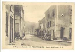 Cpa Aveyron - Fondamente - Route De Cornus ( Pompe Essence ) - Frankreich