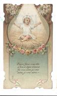 """Enfant Jésus Auréolé Sur La Paille, Fleurs: """"O Mon Jésus Qui êtes Si Bon ..."""" - Images Religieuses"""