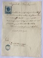 MARCHE DA BOLLO  MARCA DI TRANSIZIONE SU DOCUMENTO DI BAGNOLO 1 DICEMBRE 1866 - Documenti Storici
