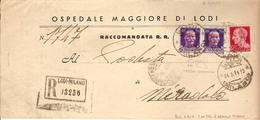 (St.Post.).R.S.I.50c Violetto (493E MI) Con Soprast. Rosso Arancio Di Milano,in Coppia,rari (119-12) - Marcophilie