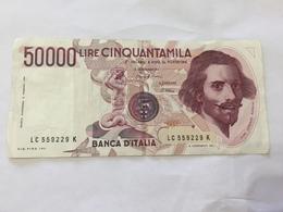 BANCONOTA 50000 LIRE BERNINI USATA. - [ 2] 1946-… : Repubblica