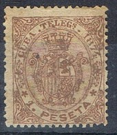 Sello 1 Pta Telegrafos CUBA, Colonia Española 1874, Num 28 º - Kuba (1874-1898)