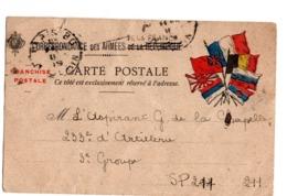 Lettre En Franchise Militaire 7 Drapeaux France Serbie Belgique Grande Bretagne Russie Montenegro Japon - Guerra Del 1914-18