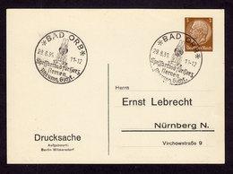 DR Postkarte BAD ORB - Nürnberg - 29.8.36 - Mi. 513 OWS Spessartbad Für Herz, Nerven, Rheuma, Gicht - Deutschland