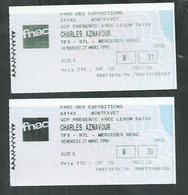 2 Billets Du Concert De Charles Aznavour à Montfavet ('Vaucluse) Prés D'Avignon - Biglietti Per Concerti