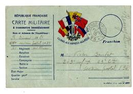 Lettre En Franchise Militaire 5 Drapeaux France Serbie Belgique Grande Bretagne Russie - 1. Weltkrieg 1914-1918