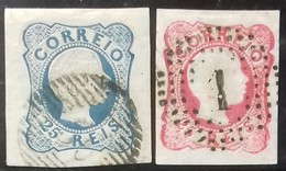 N° 11 + N° 12 COTE 27 € 25 R Bleu Et 25 R Rose Type IV. TB - 1855-1858 : D.Pedro V