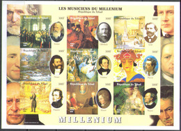 M0326 ✅ Art Painting Pictures Music Composers Millennium 2000 Chad 9v Sheet MNH ** Imp Imperf - Music