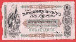 URUGUAY  MONTEVIDEO  Billet 50 Pesos Nacionales 01 01 1872 Pick S238r - Uruguay